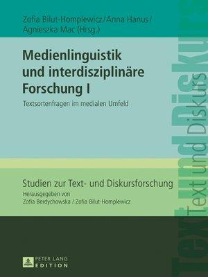 cover image of Medienlinguistik und interdisziplinaere Forschung I