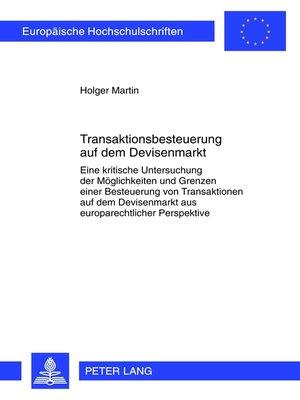 cover image of Transaktionsbesteuerung auf dem Devisenmarkt