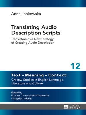 cover image of Translating Audio Description Scripts