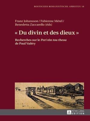 cover image of « Du divin et des dieux »