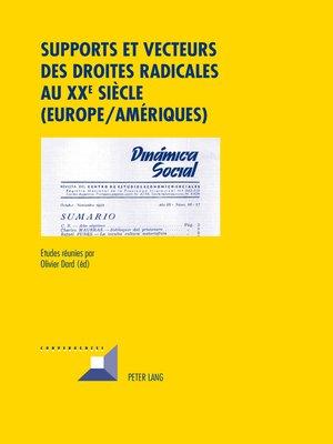 cover image of Supports et vecteurs des droites radicales au XX e  siècle (Europe/Amériques)