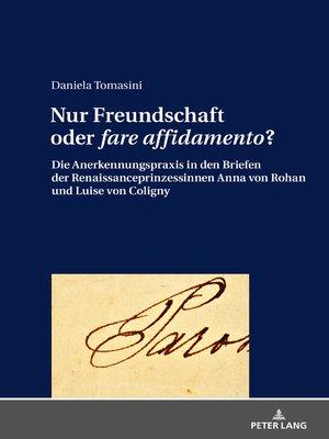 cover image of Nur Freundschaft oder «fare affidamento»?