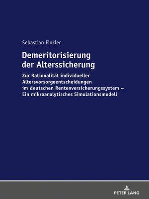 cover image of Demeritorisierung der Alterssicherung