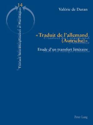 cover image of « Traduit de lallemand (Autriche) »