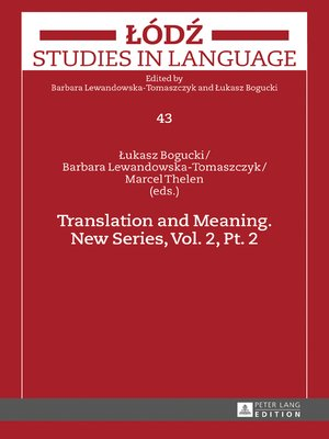 cover image of Translation and Meaning. New Series, Volume 2, Pt. 2