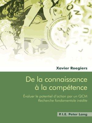 cover image of De la connaissance à la compétence