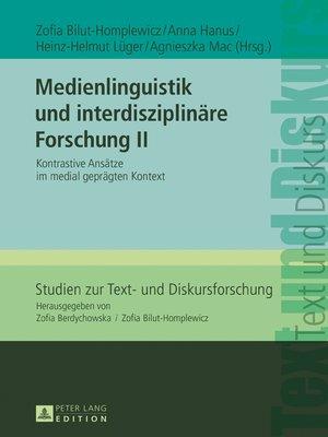 cover image of Medienlinguistik und interdisziplinaere Forschung II