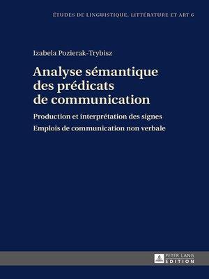 cover image of Analyse sémantique des prédicats de communication