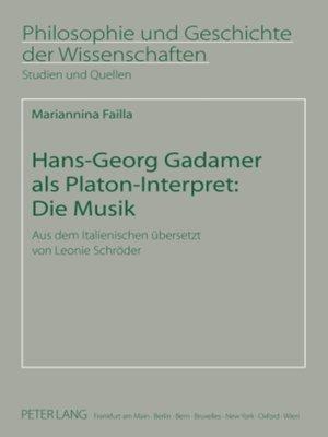 cover image of Hans-Georg Gadamer als Platon-Interpret