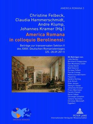 cover image of America Romana in colloquio Berolinensi