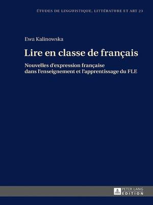 cover image of Lire en classe de français
