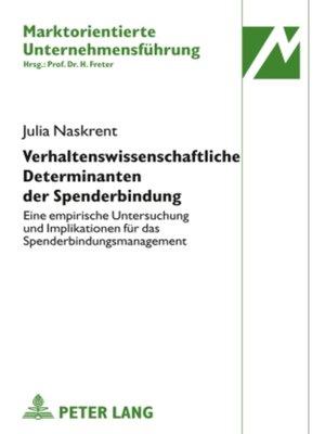 cover image of Verhaltenswissenschaftliche Determinanten der Spenderbindung