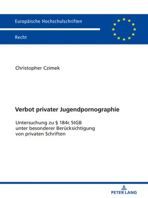 cover image of Verbot privater Jugendpornographie