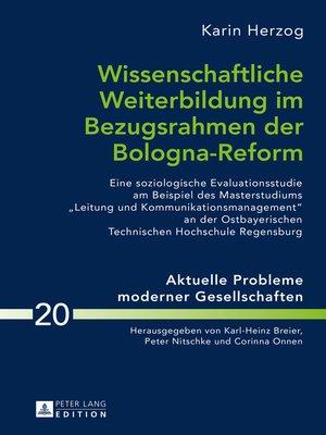 cover image of Wissenschaftliche Weiterbildung im Bezugsrahmen der Bologna-Reform