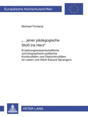 cover image of «...jener paedagogische Stoß ins Herz»