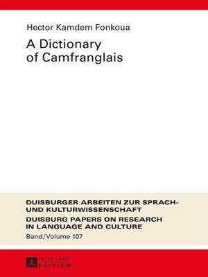 cover image of A Dictionary of Camfranglais