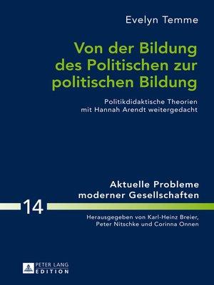 cover image of Von der Bildung des Politischen zur politischen Bildung