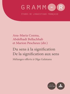 cover image of Du sens à la signification / De la signification aux sens