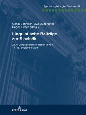 cover image of Linguistische Beitraege zur Slavistik