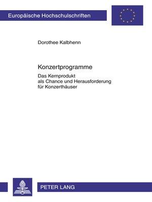 cover image of Konzertprogramme