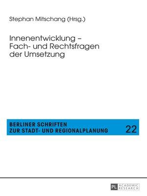 cover image of Innenentwicklung  Fach- und Rechtsfragen der Umsetzung