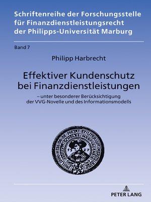 cover image of Effektiver Kundenschutz bei Finanzdienstleistungen