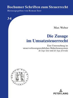 cover image of Die Zusage im Umsatzsteuerrecht