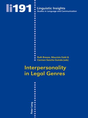 cover image of Interpersonality in Legal Genres