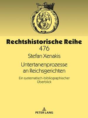 cover image of Untertanenprozesse an Reichsgerichten