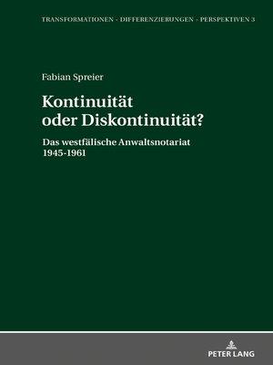 cover image of Kontinuitaet oder Diskontinuitaet?
