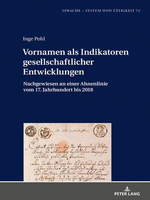 cover image of Vornamen als Indikatoren gesellschaftlicher Entwicklungen