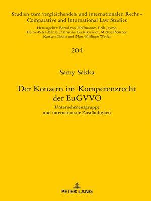 cover image of Der Konzern im Kompetenzrecht der EuGVVO