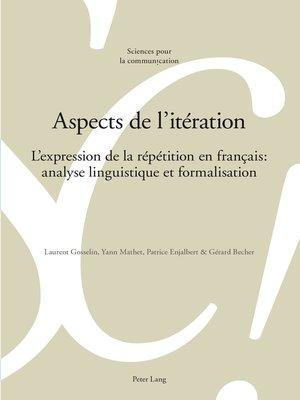 cover image of Aspects de litération