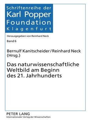 cover image of Das naturwissenschaftliche Weltbild am Beginn des 21. Jahrhunderts