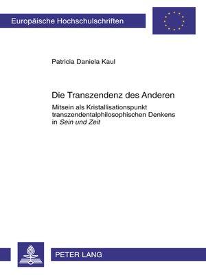 cover image of Die Transzendenz des Anderen