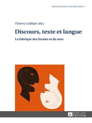 cover image of Discours, texte et langue