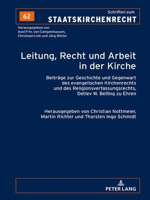 cover image of Leitung, Recht und Arbeit in der Kirche