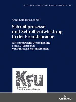 cover image of Schreibprozesse und Schreibentwicklung in der Fremdsprache