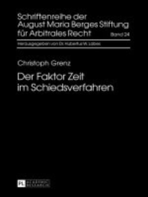 cover image of Der Faktor Zeit im Schiedsverfahren