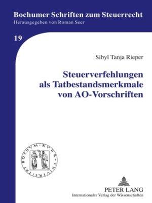 cover image of Steuerverfehlungen als Tatbestandsmerkmale von AO-Vorschriften