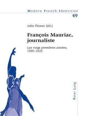 cover image of François Mauriac, journaliste