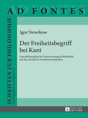 cover image of Der Freiheitsbegriff bei Kant
