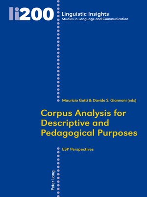 cover image of Corpus Analysis for Descriptive and Pedagogical Purposes