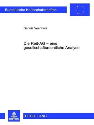 cover image of Die Reit-AG  eine gesellschaftsrechtliche Analyse