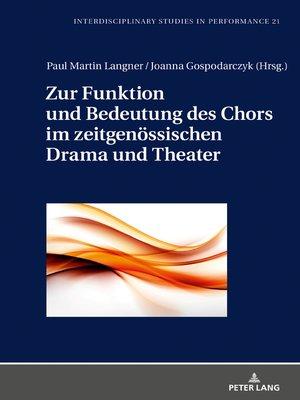 cover image of Zur Funktion und Bedeutung des Chors im zeitgenoessischen Drama und Theater