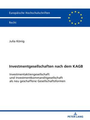 cover image of Investmentgesellschaften nach dem KAGB