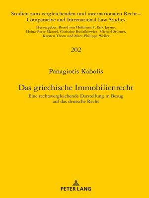 cover image of Das griechische Immobilienrecht