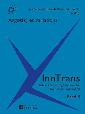 cover image of Argot(s) et variations