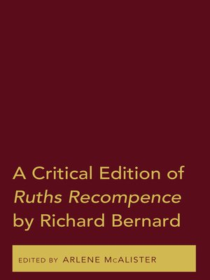cover image of A Critical Edition of Ruths Recompence by Richard Bernard
