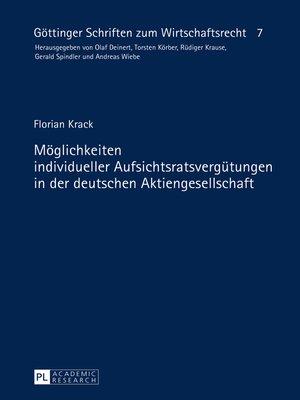 cover image of Moeglichkeiten individueller Aufsichtsratsverguetungen in der deutschen Aktiengesellschaft